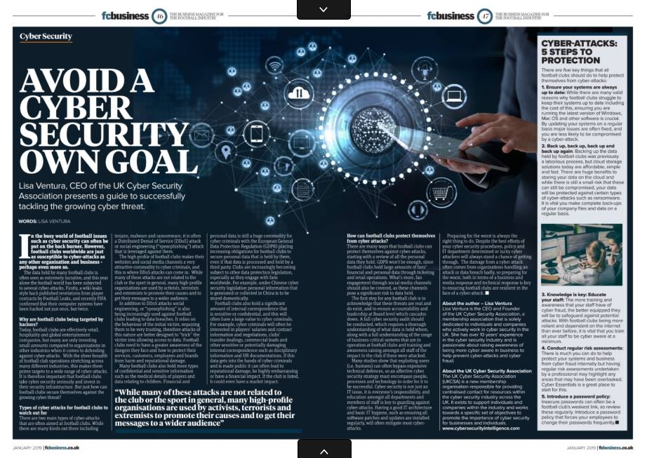 "Article in FC Business Magazine – How to Avoid a Cyber Security ""Own Goal"""