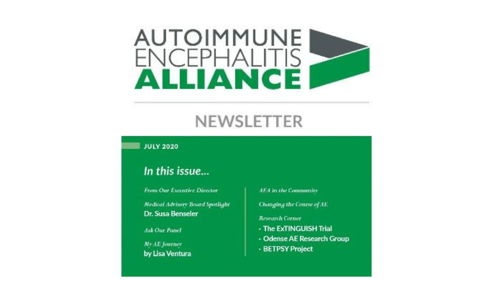 Proud to Contribute to the Autoimmune Encephalitis Alliance July 2020 Newsletter