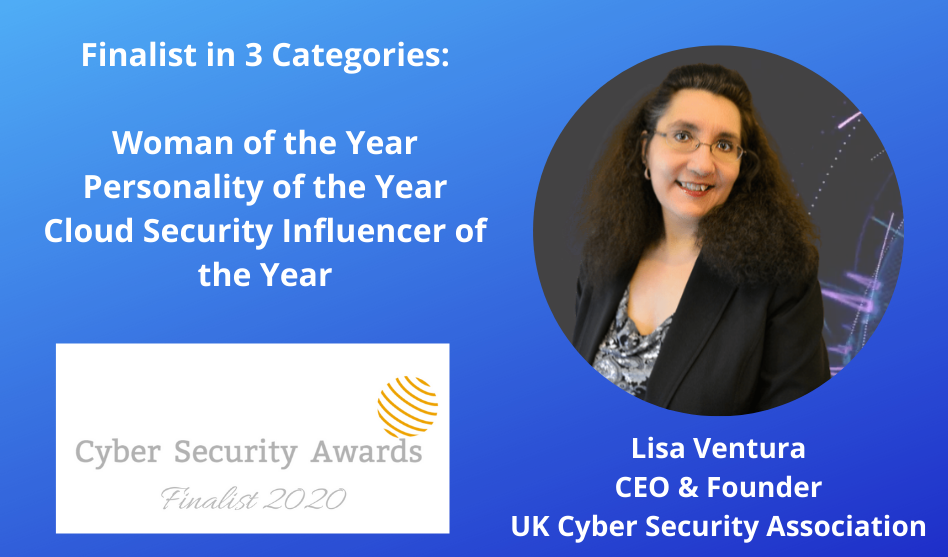 Lisa Ventura Finalist in 3 Categories in 2020 Cyber Security Awards